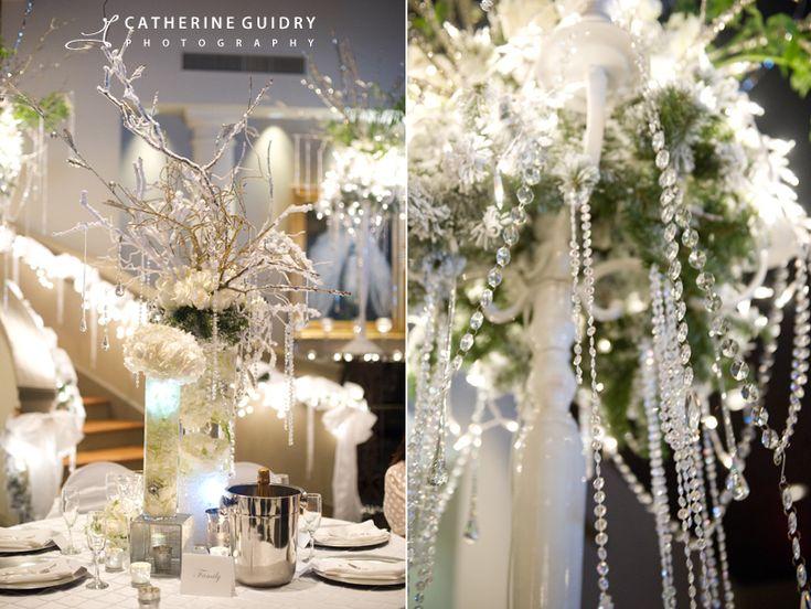 Wedding Reception Details, White Wedding, Winter Wonderland Wedding, Winter  Centerpieces [www.