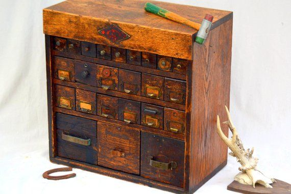 Antique Parts Bin Organizer Apothecary Cabinet Rustic Vintage