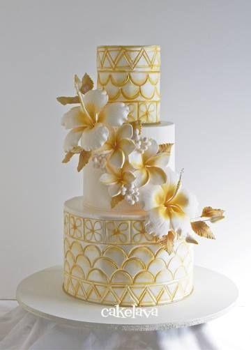 beautiful gold and white Samoan inspired wedding cake