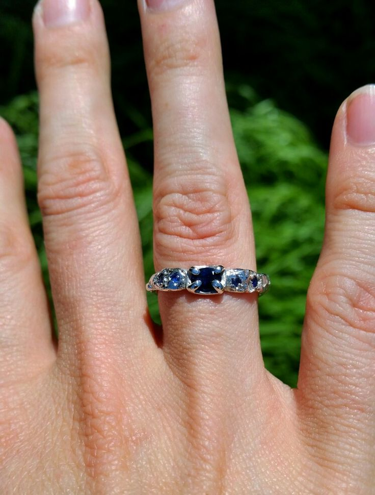 Sapphire & sterling silver engagement ring, handmade by Stephanie Rachael Jewellery