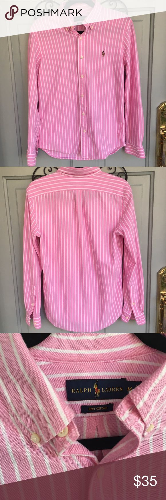 Ralph Lauren Pink and White Knit Oxford Ralph Lauren Pink and White Knit Oxford. Softest shirt ever. It's men's but women can wear it too;) Excellent condition. Ralph Lauren Shirts Casual Button Down Shirts