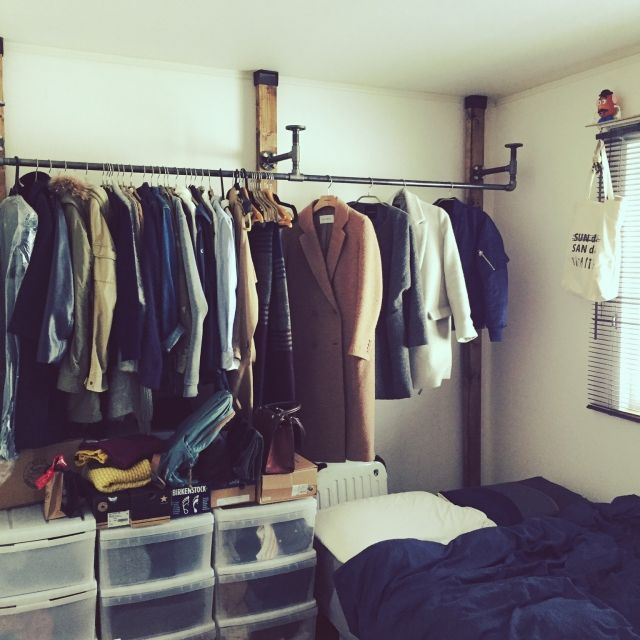 KINGさんの、BRIWAXジャコビアン,男前,ディアウォール,DIY,ガス管,ショップ風,洋服収納,インダストリアル ,ベッド周り,のお部屋写真