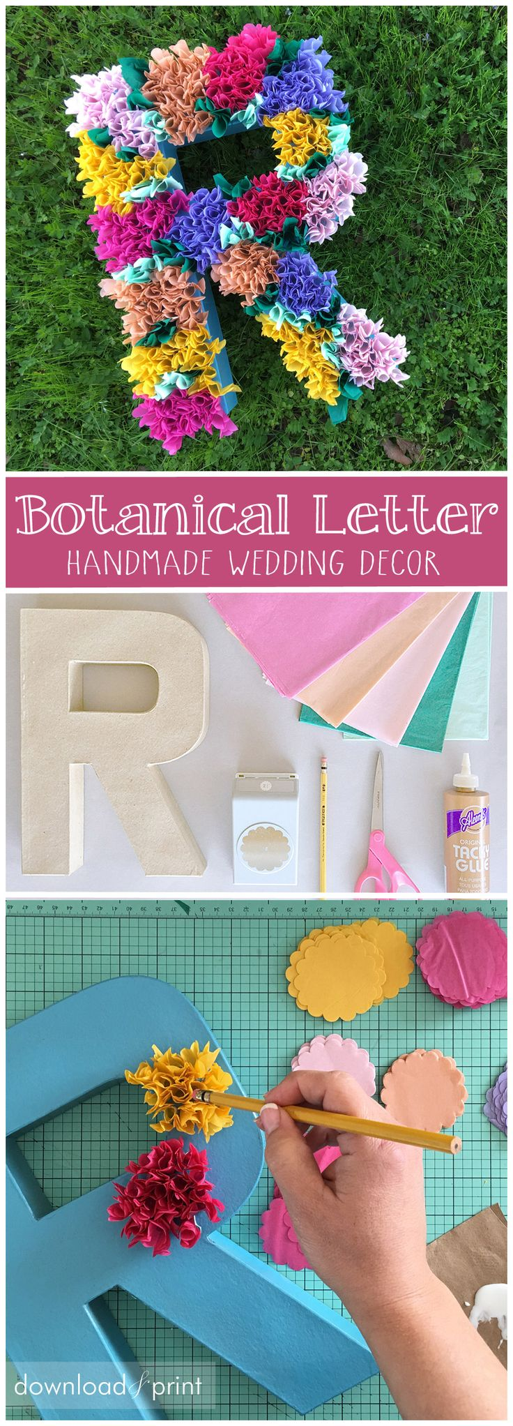 DIY floral letter... it's so easy! Takes a little time though, so set up for a Netflix binge. Perfect garden wedding decor, his and her initial with an ampersand.
