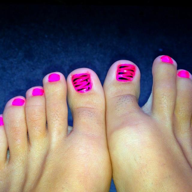 Zebra Nail Designs For Toes Rainbow Zebra Toe Nail Art Design