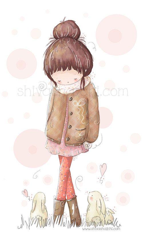 Children Illustration  Cute Girl Walking In от ShivaIllustrations