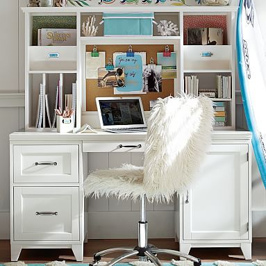 This desk is gorgeous for a home office space!  Add some gold accents to this space and you would have the chic-est office ever!  @camelliaprep #camelliaprep #homeoffice @pbteen www.camelliaprep.weebly.com