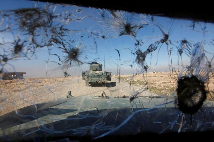 The windshield of a Humvee of the Iraqi army.