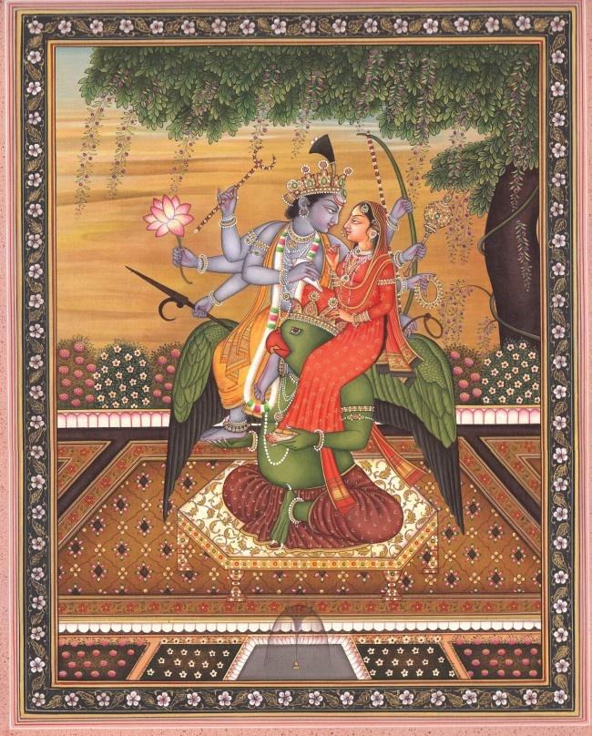 "Vishnu with Lakshmi Seated on His 'Vahana' Garuda. vahana = the ""vehicle"" upon which a deity rides, usually an animal."