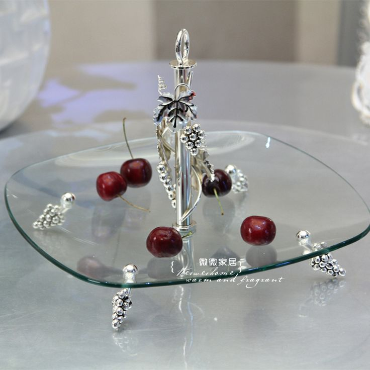 Glass fruit plate ktv bowl fashion glass portable fruit basket