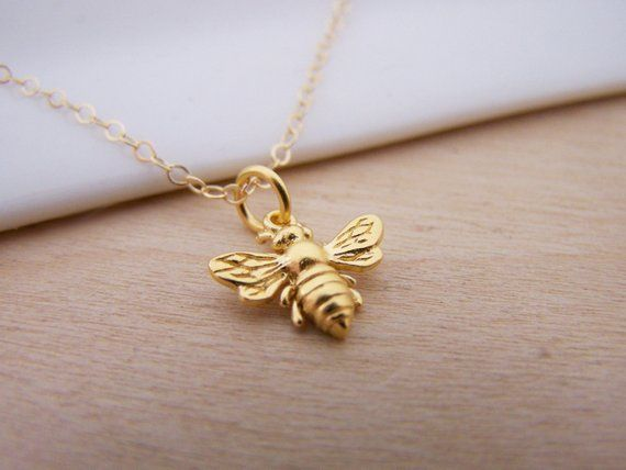 Tiny Bumble Bee 14k Gold Filled Necklace Minimalist Bumblebee Jewelry Honeybee Necklace Bumble Bee Necklace Black Gold Jewelry 14k Gold Filled Necklace