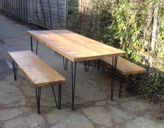 Vintage Industrial Hairpin Pin Style Legs Dining Table by breuhaus