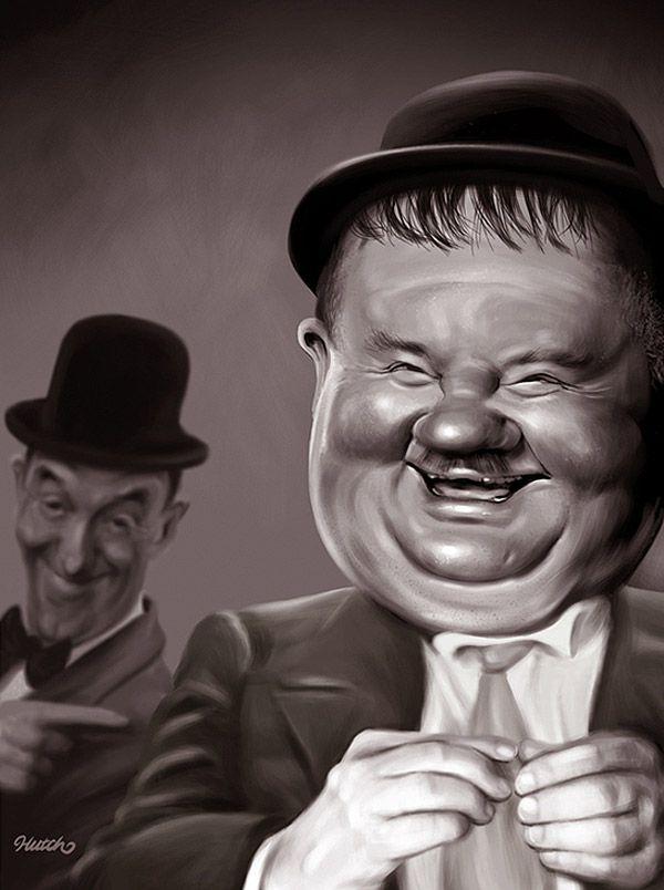 Caricatura El Gordo y el Flaco.