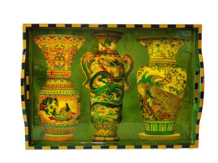 Annie Modica Dynasty Serving Tray Dragon Ming Vase Asian Jar Chinoiserie   | Collectibles, Kitchen & Home, Kitchenware | eBay!