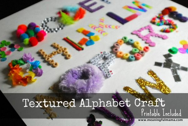 Textured Alphabet Craft - @Elmer's #elmersacademy Meaningful Mama