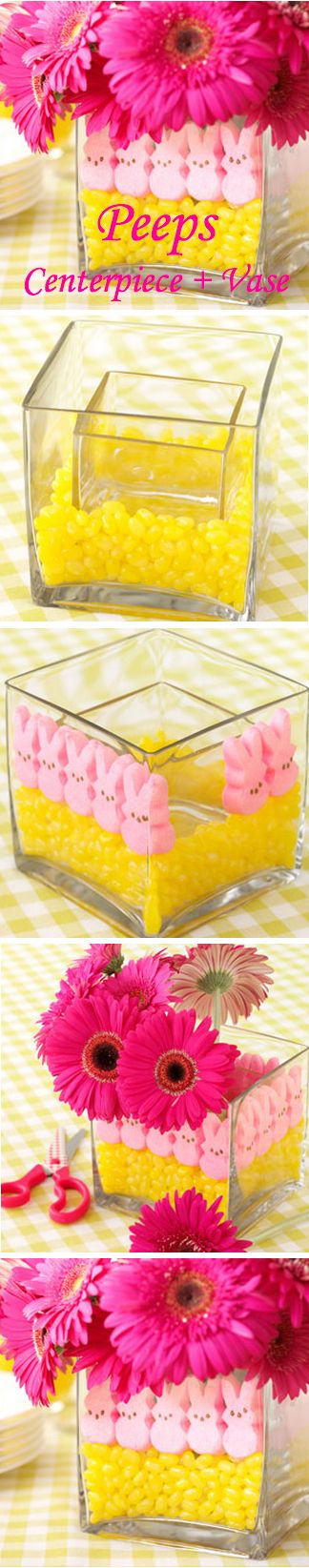 Peeps Centerpiece and Vase for Easter Brunch #decor #holidays