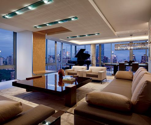 Hariri & Hariri designed sustainable penthouse living room