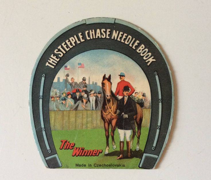 The Steeple Chase Needle Book/The Winner/Czechlosovaki/Collectible Needle Book/Sewing Emphera/Equestrian Needle Book/Horse Racing Emphera by Queenofhearts4443 on Etsy