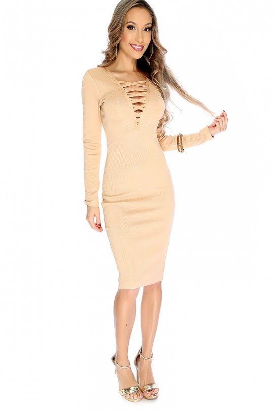 Sexy Camel Long Sleeve Knee Length Dress