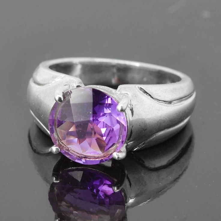 Amethyst Ring, Birthstone Ring, February, Gemstone Ring, Sterling Silver Ring, Solitaire Ring, Statement Ring by JubileJewel on Etsy