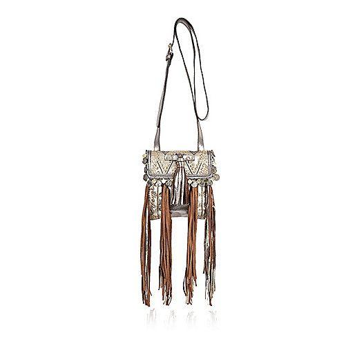 Gold leather pouch handbag - shoulder bags - bags / purses - women