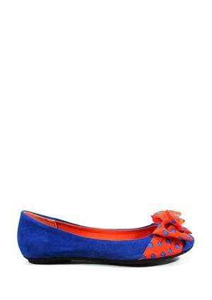 orange + blue ballet flats