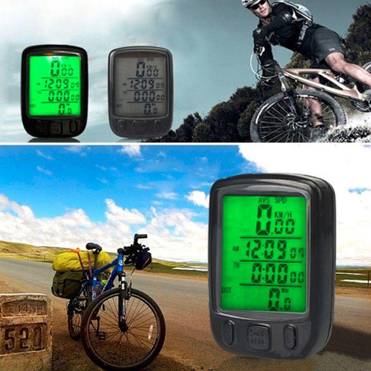 2016 Nuevo Impermeable Pantalla LCD Para Bicicleta Ciclismo Cuentakilometros Velocímetro con luz de Fondo Verde