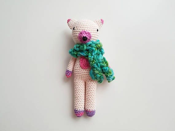 Pink Crochet Fox  Pink and Turquoise Cotton Fox Plushie for