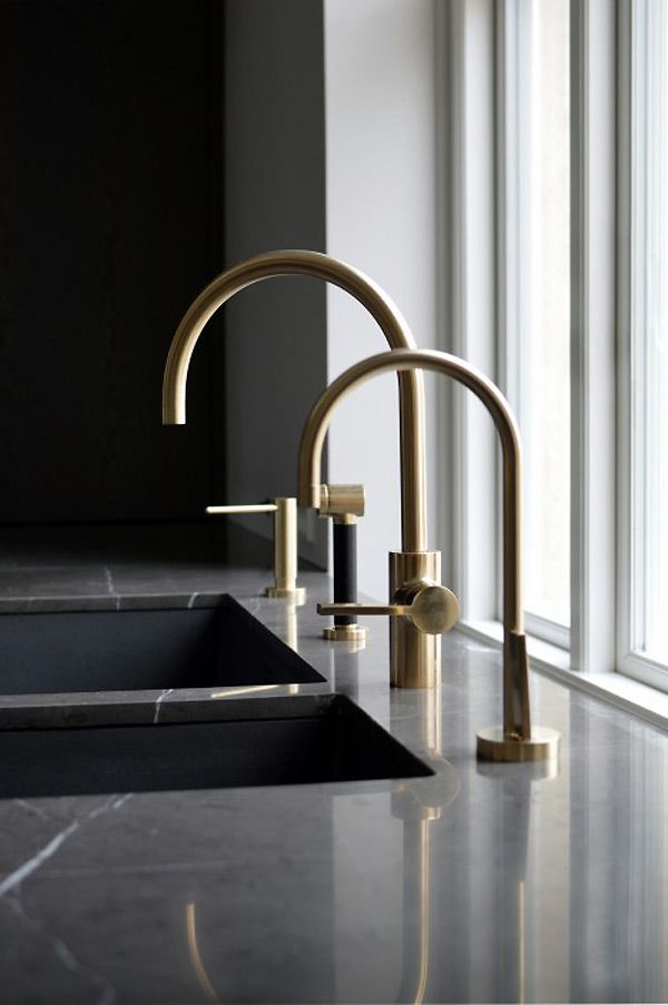 Black gold contrast, modern kitchen. modern design,interior design, brass faucets