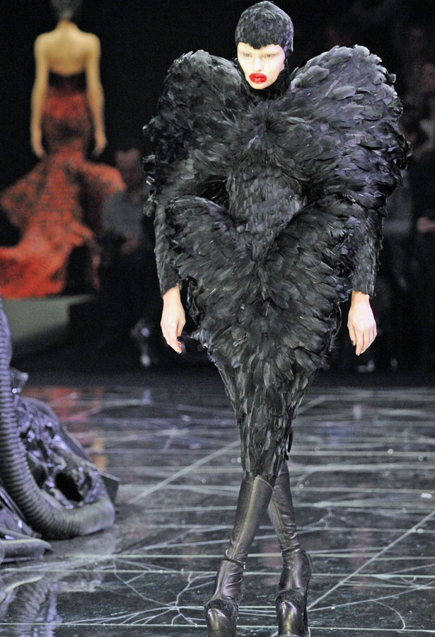 Alexander McQueen duck feather dress  bloops and blunders