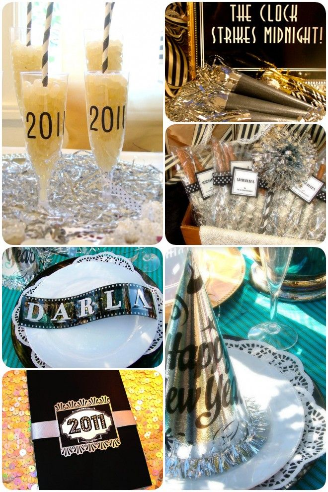 New Years Eve Party: Little Rascals Style on http://pizzazzerie.com  I like the numbers on the glasses