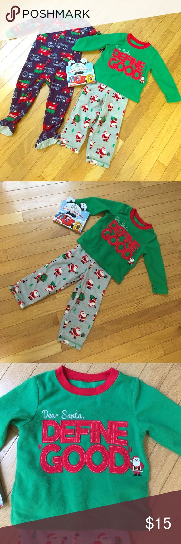 """⛄️ Carter's Christmas PJ Bundle! 🎅🏼 Comfy and warm 2T Christmas Pajamas! These were bought at Carters. One is a footie pajama in Navy with cute little sleds. The other is a two piece, """"Dear Santa, Define good"""" Perfect for your little one on Christmas Eve night! 🎅🏼🤶🏼🌲⛄️❄️ Carter's Pajamas Pajama Sets"""
