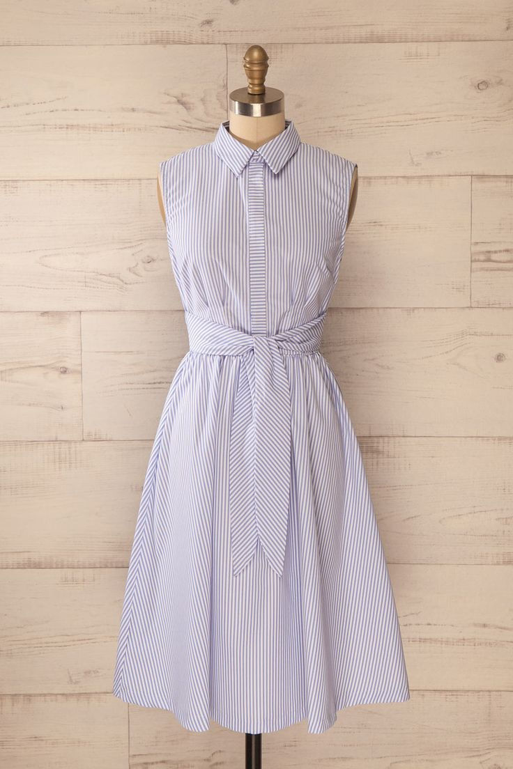 Pasly - White and blue striped dress with bow belt - $52.00 at 1861
