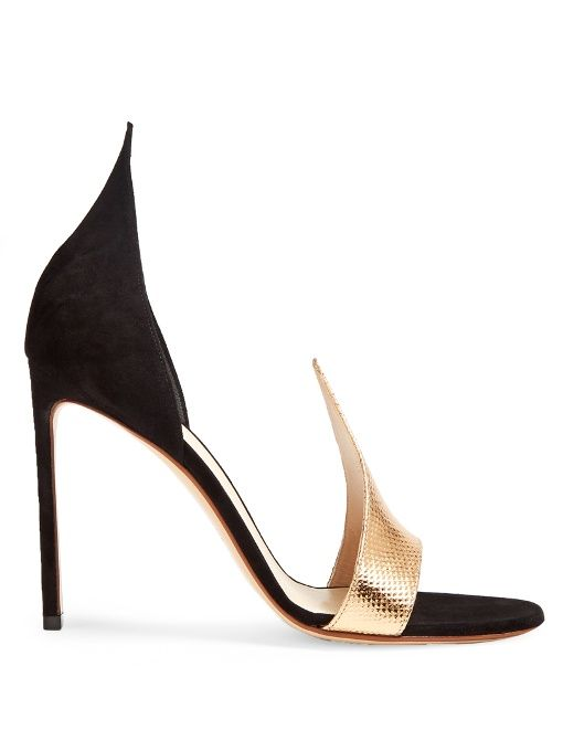 Francesco Russo Snakeskin-effect leather and suede sandals