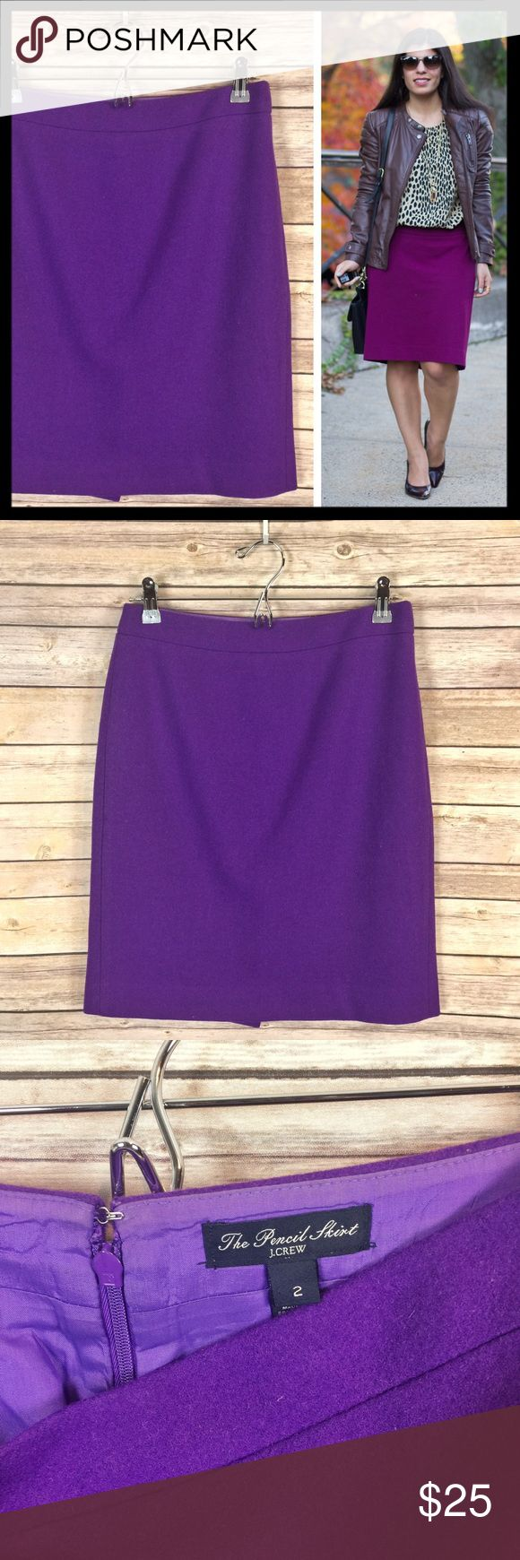 """j. crew // double serge wool purple pencil skirt Our pencil skirt is sharp, to the point and meticulously seamed. Double-serge wool has a weightier feel that's perfect for cooler days. Back zip. Wool/viscose. Lined. 20.5"""" long. Color is pretty medium purple (refer to photos on hanger since modeled photos vary slightly). From J. Crew Factory. Gently worn and in good preowned condition. J. Crew Skirts Pencil"""
