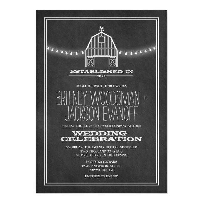 Country Rustic Chalkboard Barn Wedding Invitations