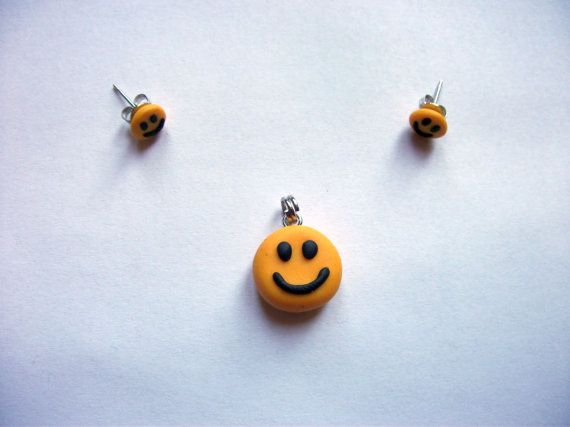 Happy Face Smiley Set Earrings and Pendant Handmade Polymer Clay