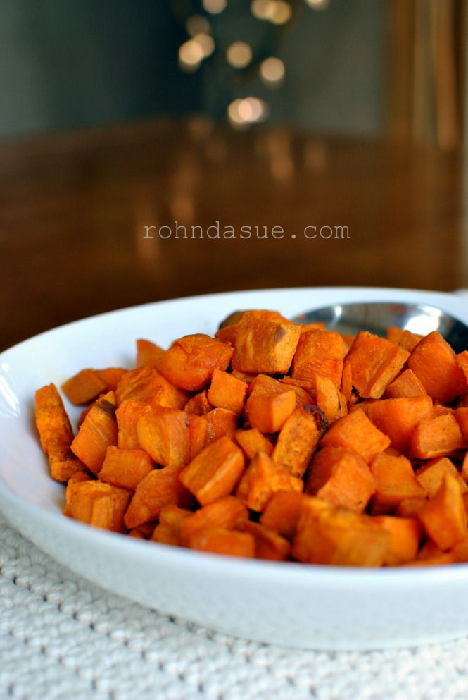 Roasted Sweet Potatoes (THM, E, side dish)  Great for adding to salads, soups or any other E meal.