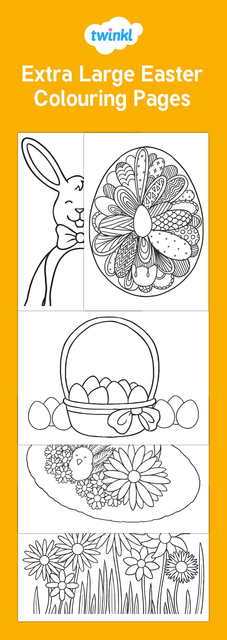 Christmas colouring in sheets twinkl - Extra Large Easter Colouring Pages