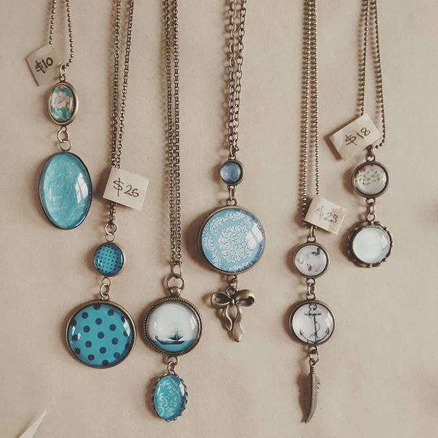 Handmade Dome Pendants currently on SALE at The Old Piopio Post Office for $12 each. #handmade #nzmade #jewellery #blue