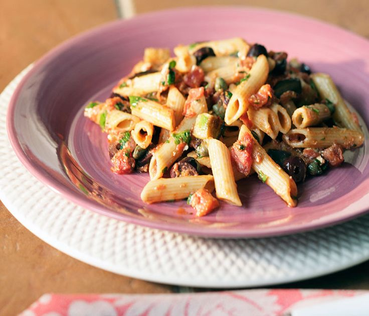 Pasta with Kalamata Olives, Capers, Eggplant, Manouri and Tomatoes | Diane Kochilas