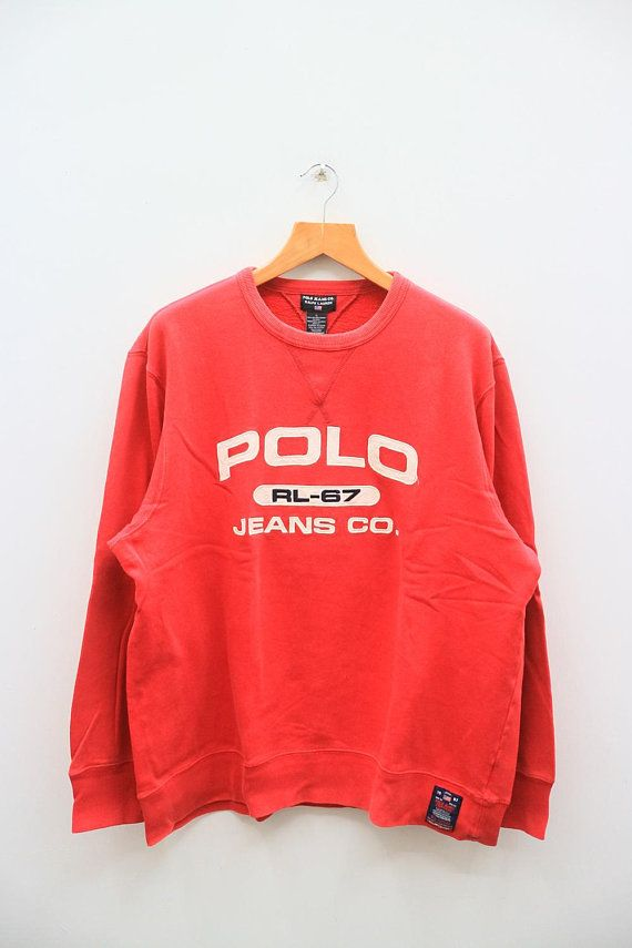 5508bffb66ff Vintage POLO Ralph Lauren Jeans Co. RL-67 Red Sweater   accesorios y ...