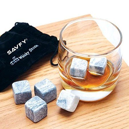 SAVFY® Lot de 9 Pierres à Whisky / Whisky Rocks Pierres / Glaçons stéatite / Glacons en Pierre / Vodka Gin / Spiritueux Vins LIQUEURS vin Bev refroidisseurs avec sac