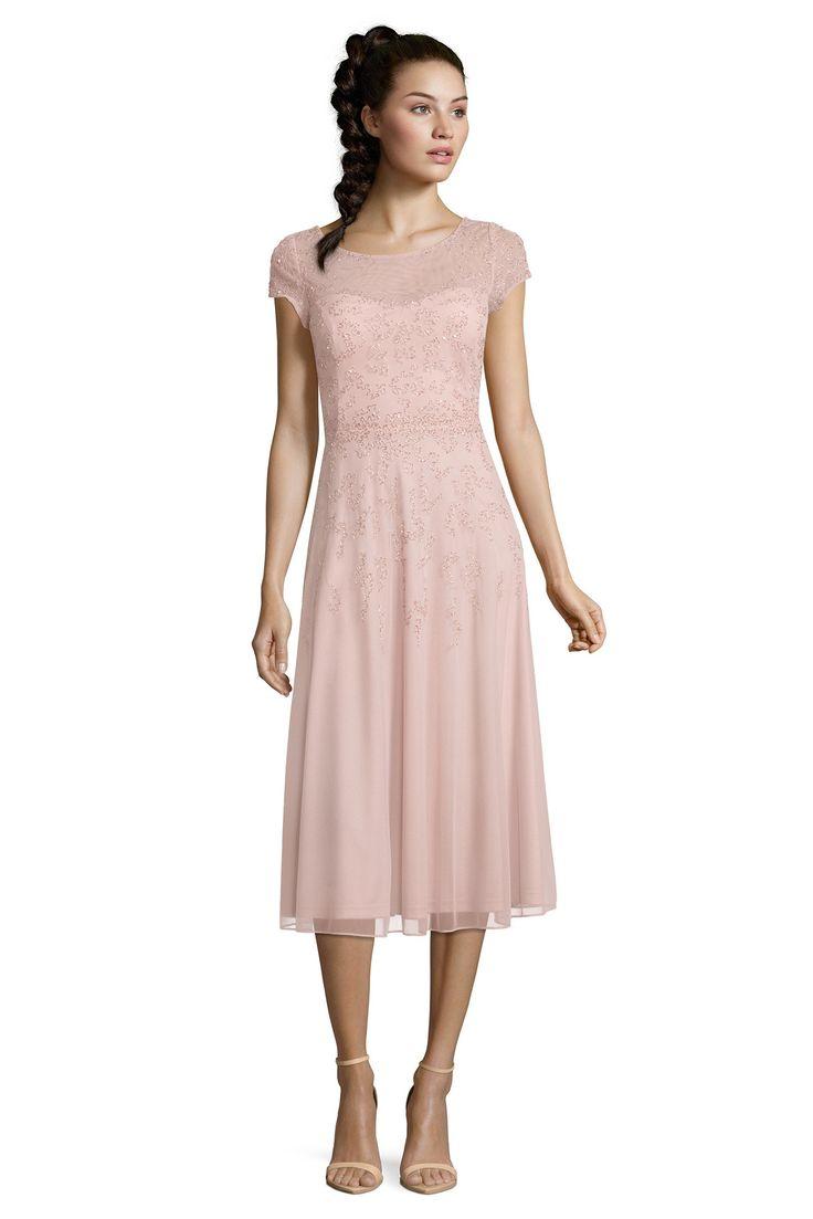 Festliches elastisches Midi-Kleid in Rosa von Vera Mont