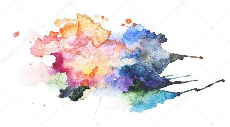 Dibujado a mano abstracto acuarela aquarelle borra manchas de salpicaduras de pintura colorida — Imagen de stock #71296587