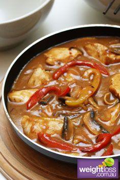 Healthy Chicken Recipes: Thai Chicken with Rice. weightloss.com.au #HealthyRecipes #DietRecipes #WeightlossRecipes