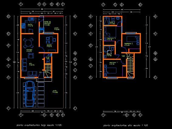 diseno de casa en autocad 80m2 planos de casas bloques