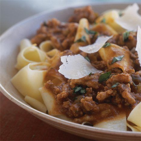 In this deeply flavored dish, a classic mixture of ground beef, veal and pork simmers slowly in the oven (for a thicker, drier sauce) or a slow cooker (for a sauce with a bit more liquid). In Italy, great emphasis is placed on the quality of the ingredients. For the best flavor, look for pasta that is 100 percent durum semolina wheat, and grate your own Parmigiano-Reggiano cheese.