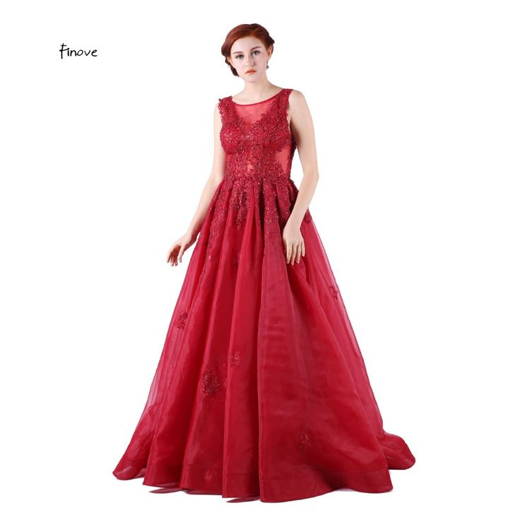 Red Evening Dresses Elegant With Crystal Beading Sleeveless Scoop-Neck Long Prom Gown Fast Shipping  robe de soiree