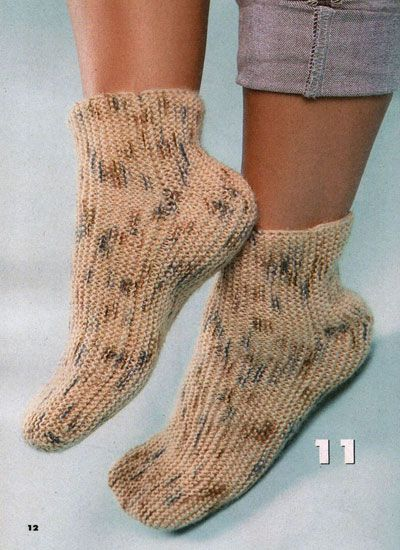Носки связанные поперек