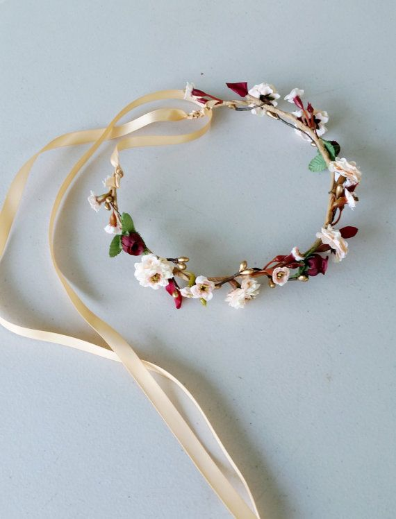 Burgundy gold flower Wine Bridal hair wreath by AmoreBride on Etsy